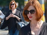 When bad jeans happen to good people: Christina Hendricks hides her glorious figure in frumpy turn-ups and poncho