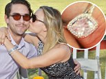 Kaley Cuoco proudly shows off engagement ring as she shares tender embrace with fiancé Ryan Sweeting... and they're not the only ones getting cosy on the polo field