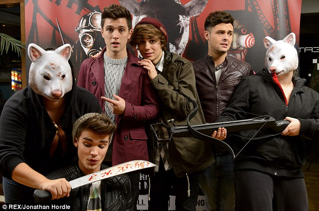 Fancied a fright: The lads from Union J headed to the Fright Nights - VIP launch at Thorpe Park on Friday instead of the Leigh-Anne's party