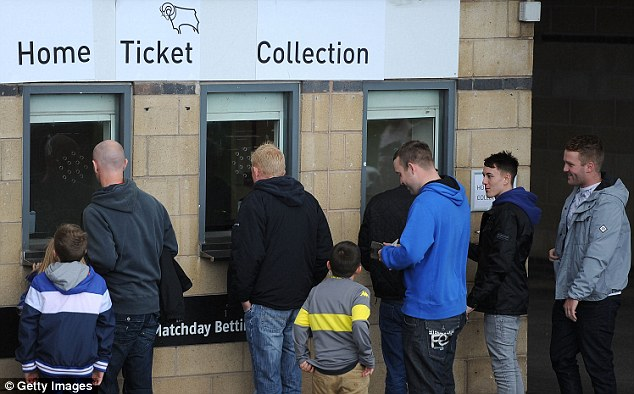 New era: Fans queue outside Pride Park to get their tickets for the Leeds match