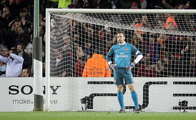 Feeling low: Almunia also endured some tough times including a 4-1 defeat by Barcelona