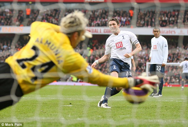 Top save: Almunia enjoyed some good times at Arsenal, this penalty save against Spurs in 2007 being one