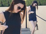 A strut made for the catwalk! Kendall Jenner parades her long and lean pins in a pair of tiny shorts after indulging at a burger joint