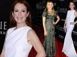 Radiant in white! Julianne Moore, 52, outshines her much younger co-star Chloe Moretz, 16, in a flowing white gown at the premiere of their new movie Carrie