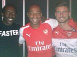 Woops: Christie (second left) posted this picture with Thierry Henry (second right), Bacary Sagna (left) and Olivier Giroud (right)