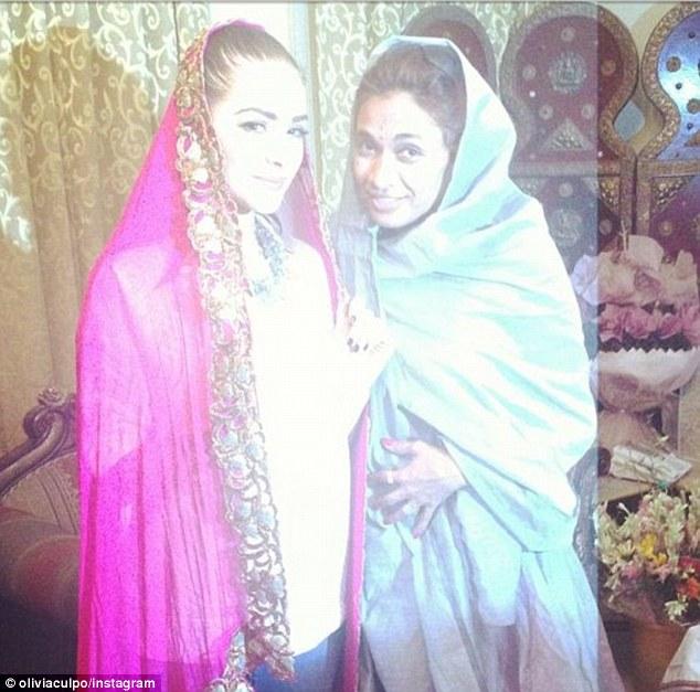 Colorful India: Olivia Culpo and designer Sanjana Jon (right) who accompanied Culpo to the Taj Mahal on Sunday