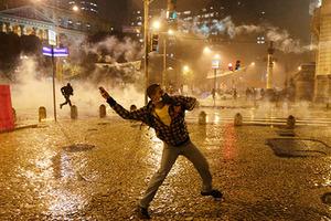 Участник забастовки бразильских учителей