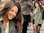 Time for a touch up? Katie Holmes reveals grey hair as she shows off her sensational legs in shorts on Good Morning America