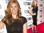 The lady is a vamp! Connie Britton flaunts her figure in clingy leather trim dress and bondage-style heels at All Is Lost premiere