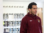 Driving force: Carlos Tevez was at City's Carrington training base this afternoon