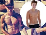 Buff Bieber! Justin goes from scrawny to ripped as he poses shirtless with his personal trainer