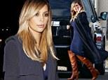 No mum tum here! Kim Kardashian shows off her post-baby body in figure-hugging navy dress for Kanye's Kimmel showdown