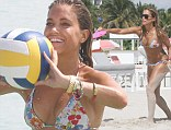 Sylvie and her son Damian made a splash on the beach