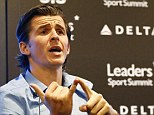 Hitting out: Barton did not hold back at the Leaders in Football conference