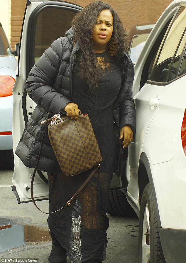 Ready: Amber Riley arrived to the dance studio wearing winter clothes