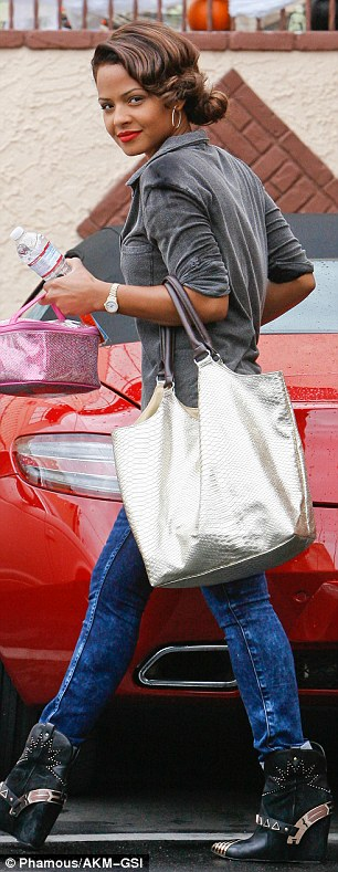 Finishing up: Christina Milian returned to her car after her day of rehearsing