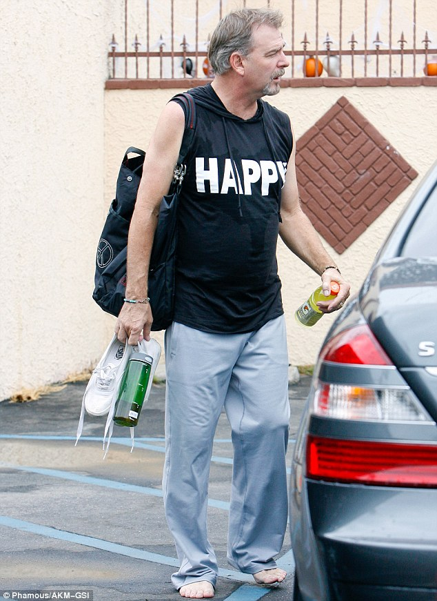 Tough feet: Actor Bill Engvall went barefoot in the rain as he met up with his pro partner Emma