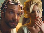 Jennifer Lawrence puffs on a cigarette in new American Hustle trailer... while Bradley Cooper bravely sports pink curlers in his hair