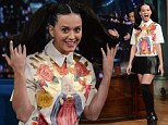 Oh behave! Katy Perry risks the wrath of her pastor parents in Virgin Mary Top and naughty schoolgirl attire on Jimmy Fallon