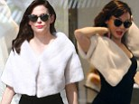 Forget the bag! Rose McGowan gets some last minute wedding shopping in, wearing her new bridal fur capelet out of the store