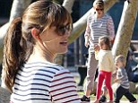 Just hanging out: Jennifer Garner spends the afternoon entertaining her energetic lookalike children at the park in LA
