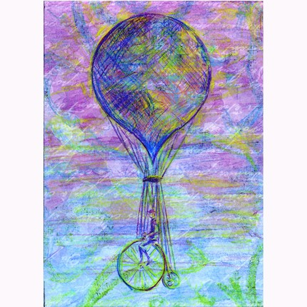 Penny Farthing Dream original drawing OOAK by ArtSnark