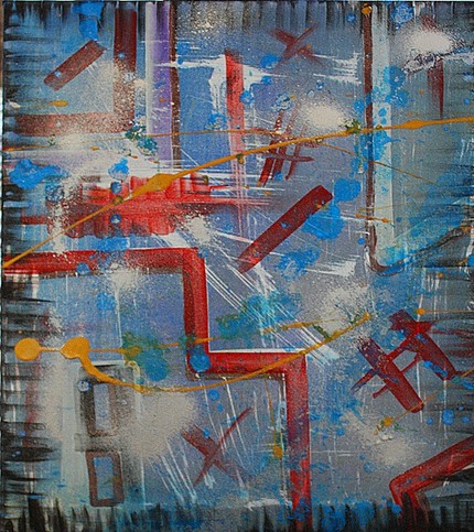 abstract modern art, urban industrial splash artwork - by Barbosa Art Modern Painting Gallery