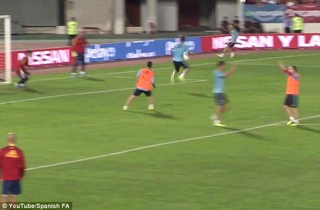 Sweet touch: Ramos flicks the ball with the heel of his right boot