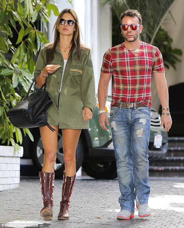 Stylish couple: Alessandra and friend went with the hot couple look