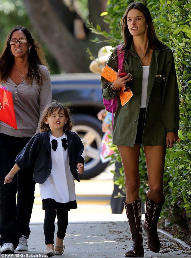 Mommy and me time: Anja and Alessandra enjoyed some time alone as they walked home from school