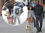 It's Sandy! Quvenzhane Wallis films scenes for Annie with Jamie Foxx and the gorgeous dog playing her trusty canine sidekick