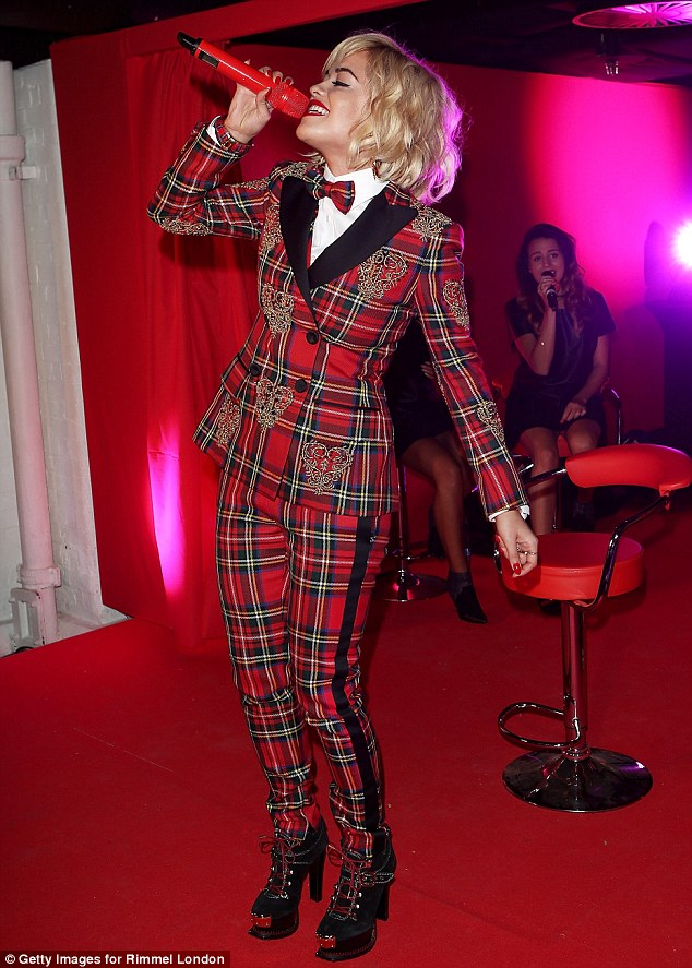 Centre stage: Rita was performing at the event, which celebrated 180 years since the launch of cosmetics giant Rimmel