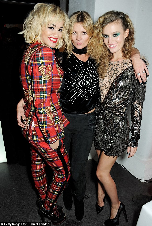 Close friends: Rita was joined at the event by models Kate Moss and Georgia May Jagger