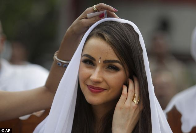 Radiant: Culpo, who is from Rhode Island, visited India for 10 days as part of her Miss Universe duties