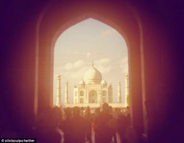 Beautiful: Culpo shared this image of the Taj Mahal while on the trip. She said she would love to go back soon