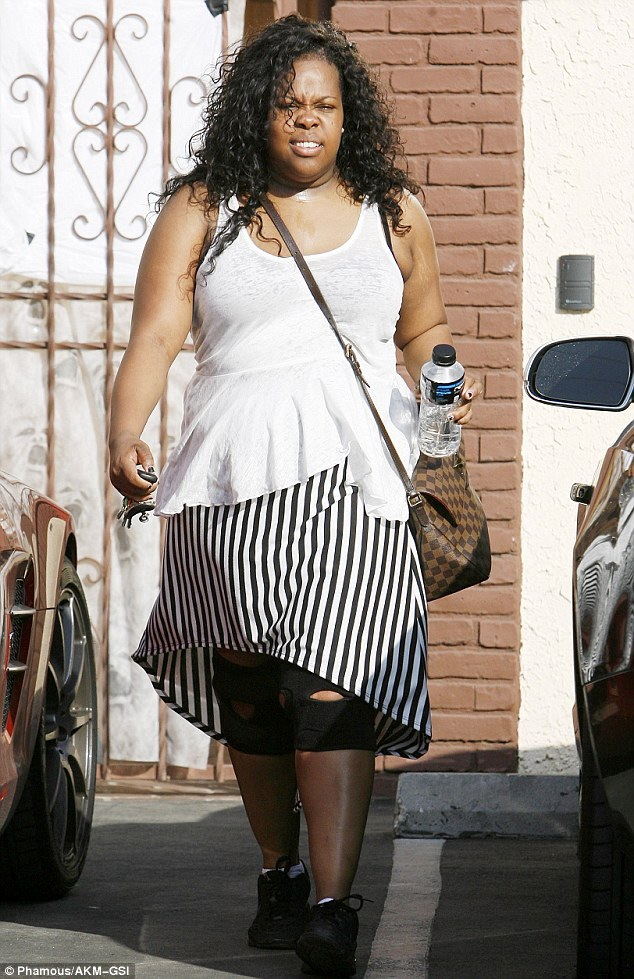Glee star Amber Riley looks like she had a good workout after dance practice with her DWTS partner Derek Hough