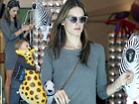 Having a ball-oon! Alessandra Ambrosio and son Noah become enamoured with fun animal inflatables as they shop for party supplies