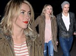 Keeping her safe? Julianne Hough brings brotherly back up as she and Derek scare themselves at the Los Angeles Haunted Hayride