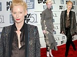 Dressed to thrill! Tilda Swinton ditches demure for daring as she vamps it up in androgynous outfit at Only Lovers Left Alive NYFF premiere