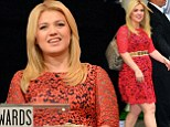 Kelly Clarkson dons lacy red dress to announce American Music Awards nominations... as Macklemore & Ryan Lewis lead with nods in six categories