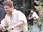 Sean Bean cycles away from dinosaur on tiny red chopper as he films latest movie in Kent