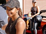 Christina Milian rocks leather trousers and heels at DWTS rehearsals... before enjoying pumpkin patch play date with daughter Violet