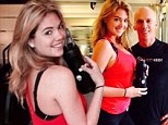 Work it! Fitness guru David Kirsch tweets pictures of swimsuit siren Kate Upton while she models Heidi Klum New Balance shoes