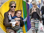 What's going on here? Selma Blair looked as if she was wearing pajamas as she took her son Arthur to the Hollywood Farmers Market in California on Sunday