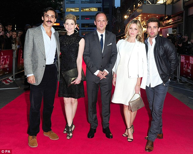 The gang: (Left to right) Henri Lloyd Hughes, Jodie Whittaker Anthony Wilcox, Annabelle Wallis and Christian Cooke pose up on the carpet