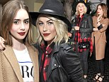 Ravisihing in red: Lily Collins, left, and Julianne Hough, right, coordinated with deep crimson pouts for the 30 Seconds To Mars after party at Chateau Marmont in West Hollywood, California on Saturday