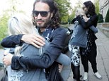 Russell Brand greets 17-year-old with hug and a kiss before Glasgow gig