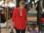 Holding hands: Charlize and Jackson held hands as they left the restaurant