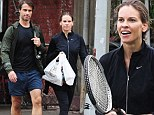 It's love! Hilary Swank works up an appetite during tennis match with boyfriend Laurent Fleury before grabbing takeout for lunch