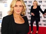 Dressed in black: A pregnant Kate Winslet is seen at a photocall for new film Labor Day at the Mayfair Hotel, London